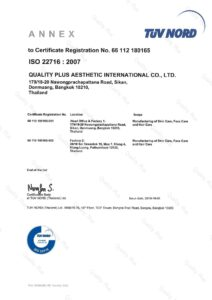 ISO 22716 : 2007 Manufacturing of Skin Care, Face Care and Hair Care