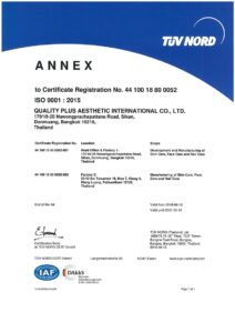 ISO 9001 : 2015 Development and Manufacturing of Skin Care, Face Care and Hair Care