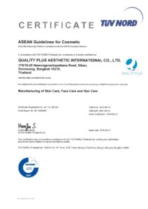 ASEAN Guidelines for Cosmetic - Manufacturing of Skin Care, Face Care and Hair Care